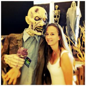 Leah Rhyne, with a zombie